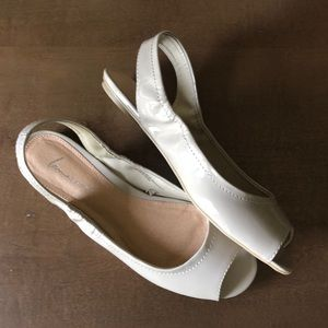 Lane Bryant open toe sling back shoes